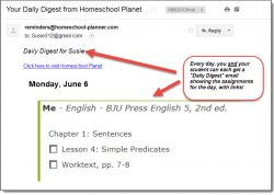 Homeschool Planet Lesson Plan BJU English Email Digest screenshot button
