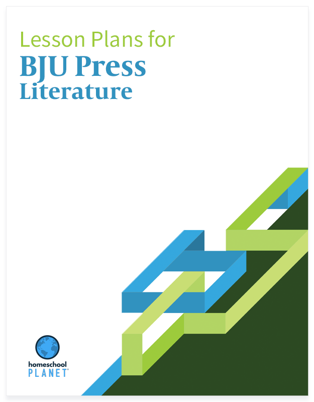 BJU Press Literature lesson plan button for homeschool planet