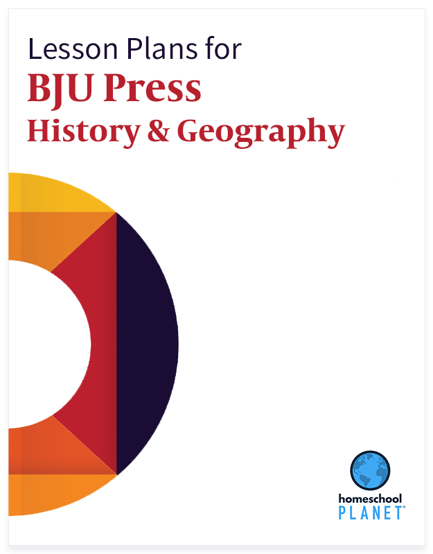 BJU Press History lesson plan button for homeschool planet