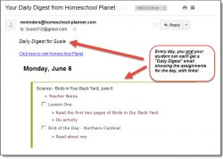 Homeschool Planet Lesson Plan Email Daily Digest screenshot button