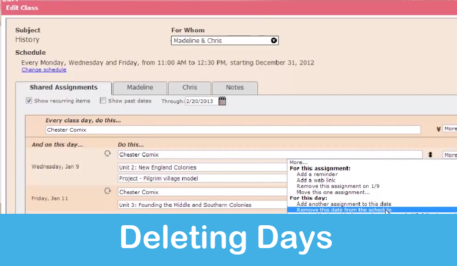 Homeschool Planet Lesson Plan Deleting Days screenshot button