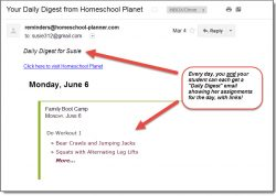 Homeschool Planet Lesson Plan Family Boot Camp Email Digest screenshot button