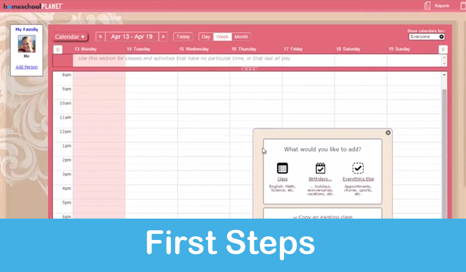 Homeschool Planet Lesson Plan First Steps screenshot button