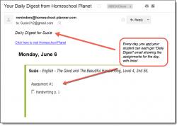 Homeschool Planet English email digest screenshot button