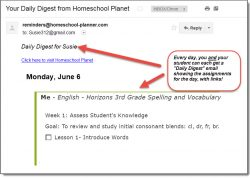 Homeschool Planet Lesson Plan Email Digest screenshot button