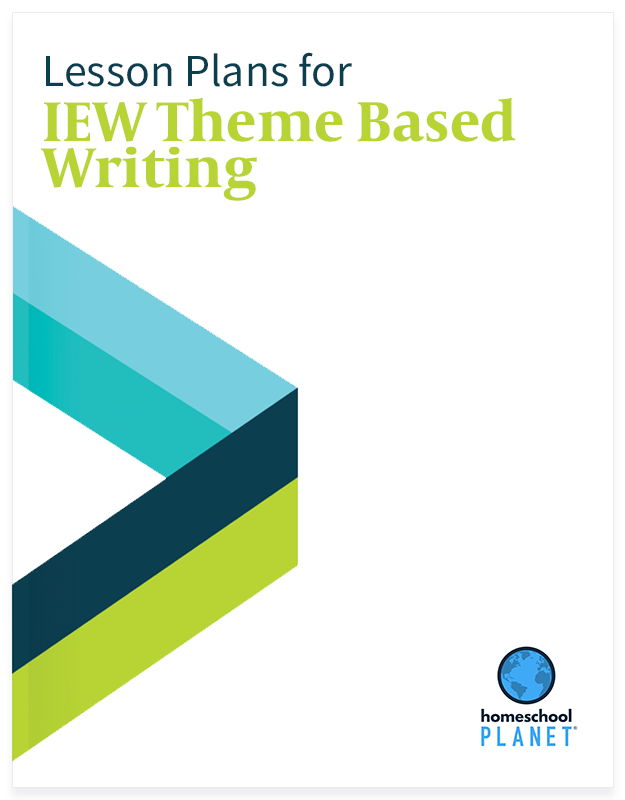 IEW Theme Based Writing lesson plan button for homeschool planet