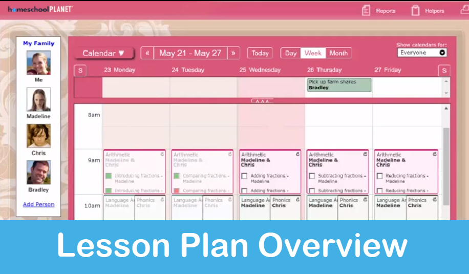 Homeschool Planet Lesson Plan Overview screenshot button