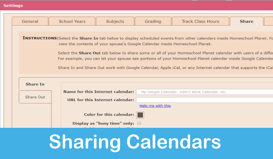 Homeschool Planet Lesson Plan Sharing Calendars screenshot button