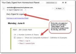 Homeschool Planet Email Digest screenshot button