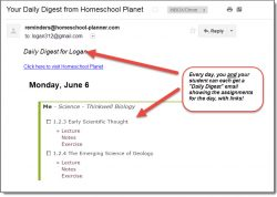 Homeschool Planet email digest view screenshot button