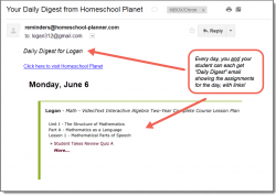 Homeschool Planet email digest screenshot button
