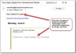 Homeschool Planet Geography email digest screenshot button