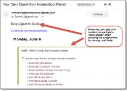 Homeschool Planet Health email digest screenshot button