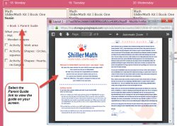 Homeschool Planet Swiller Math weekly view with pop-up screenshot button