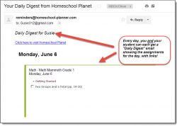 Homeschool Planet Math Mammoth email digest screenshot button