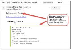Homeschool Planet Swiller Math email digest screenshot button