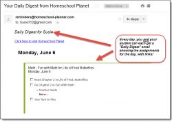Homeschool Planet Life of Fred email daily digest screenshot button