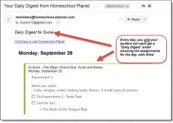 Homeschool PlanetThe Magic School Bus daily digest email screenshot button