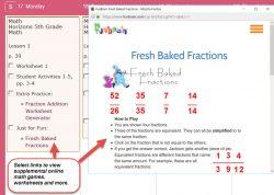 Homeschool Planet Horizons Math weekly view with pop-up screenshot button