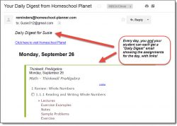 Homeschool Planet Thinkwell Pre Algebra daily digest email screenshot button