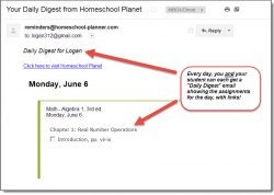 Homeschool Planet Algebra 1 email digest screenshot button