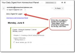 Homeschool Planet BJU Writing & Grammar daily digest screenshot button