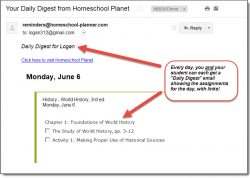 Homeschool Planet World History email daily digest screenshot button