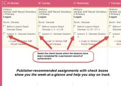 Homeschool Planet Veritas Self-paced weekly view screenshot button