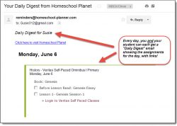 Homeschool Planet Veritas Self-paced daily digest email screenshot button