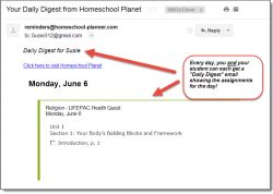 Homeschool Planet LIFEPAC Health Quest email digest screenshot button
