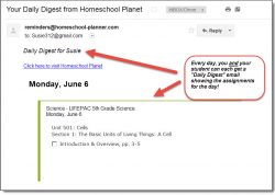Homeschool Planet LIFEPAC Science email digest screenshot button