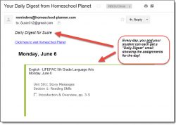 Homeschool Planet LIFEPAC Language Arts email digest screenshot button