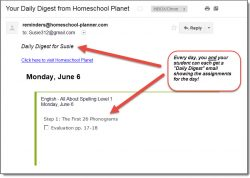 Homeschool Planet All About Spelling email digest screenshot button