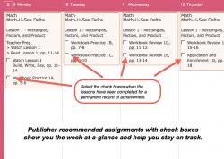 Homeschool Planet Math-U-See weekly view screenshot button