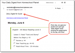 Homeschool Planet All About Reading email daily digest screenshot button