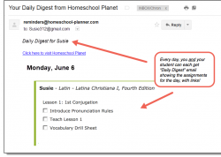 Homeschool Planet Latina Christiana email of daily digest screenshot button