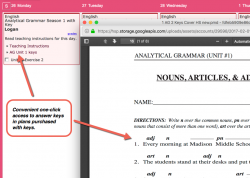 Homeschool Planet Analytical Grammar Season 1 weekly view with pop-up screenshot button