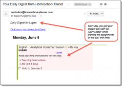 Homeschool Planet Analytical Grammar Season 1 email digest screenshot button
