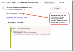 Homeschool Planet Phonetic Zoo email daily digest screenshot button