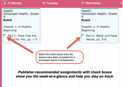 Homeschool Planet Schoolaid Health weekly view screenshot button