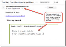 Homeschool Planet Schoolaid Health email digest screenshot button