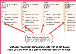 Homeschool Planet Working Arithmetic weekly view screenshot button