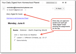 Homeschool Planet God's Inspiring World daily digest email screenshot button