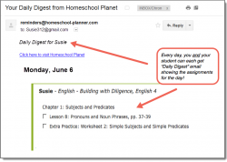 Homeschool Planet Building with Diligence daily digest email screenshot button