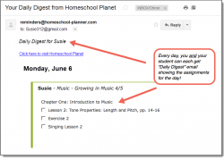 Homeschool Planet Rod & Staff Music daily digest email screenshot button