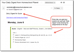 Homeschool Planet Rod & Staff Phonics daily digest email screenshot button