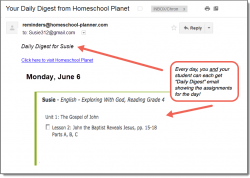 Homeschool Planet Exploring with God daily digest email screenshot button