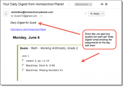 Homeschool Planet Working Arithmetic daily digest email screenshot button