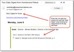 Homeschool Planet Berean Builders email daily digest screenshot button