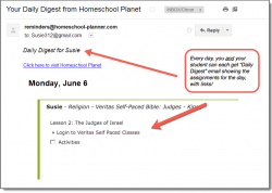 Homeschool Planet Veritas Self-Paced Bible daily digest email screenshot button